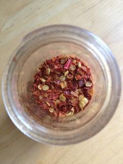 Jar of homemade chili flakes.