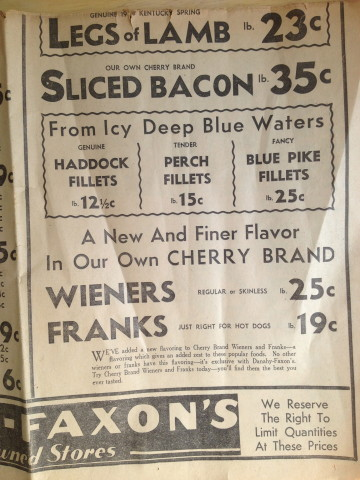 """1) 35-cent bacon?!  2) I love ad copy from this era - fish """"From  Icy Deep Blue Waters"""" 3) Wieners and franks are different things"""