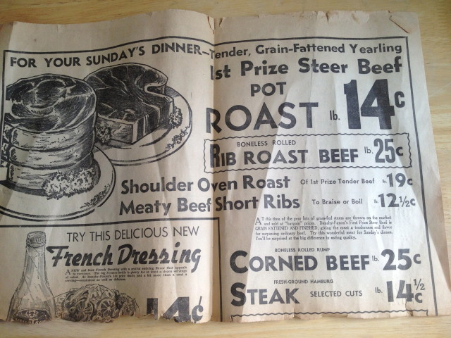 """Short ribs - 12 1/2 cents! And again with the 14-cent French Dressing from the cover. Fresh-ground hamburg (no """"-er"""") steak - 14 1/2 cents."""
